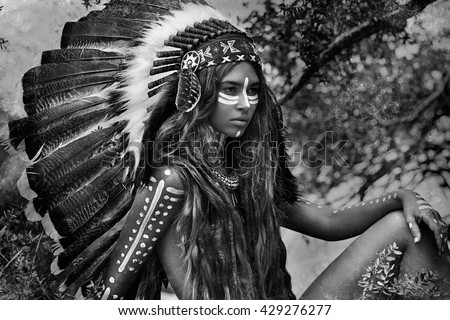 Indian woman hunter black and white portrait