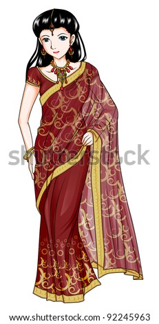 Indian woman in traditional costume - stock photo