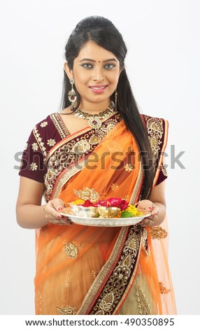 Indian woman performing puja