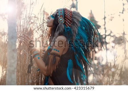 indian woman portrait outdoors. Background with free text space