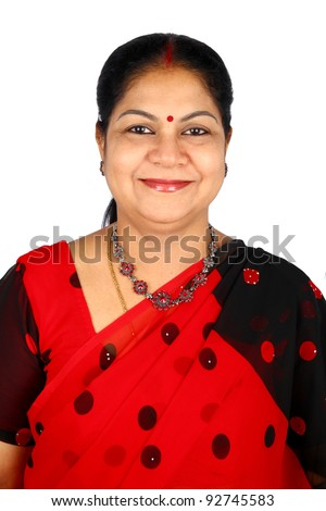 Indian woman presenting. Isolated on white. - stock photo