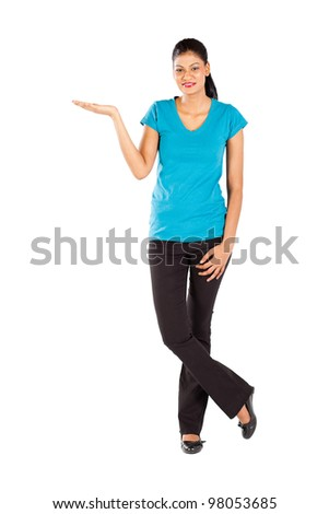 indian woman presenting on white background - stock photo