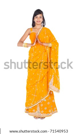 indian woman studio full length portrait - stock photo