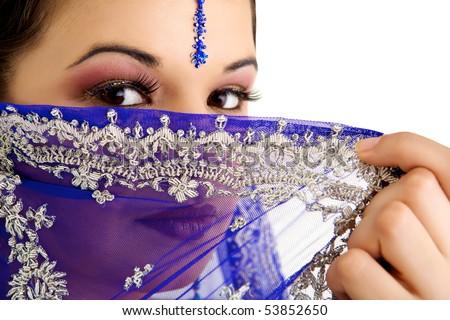 Indian woman with a beautiful blue sari - stock photo