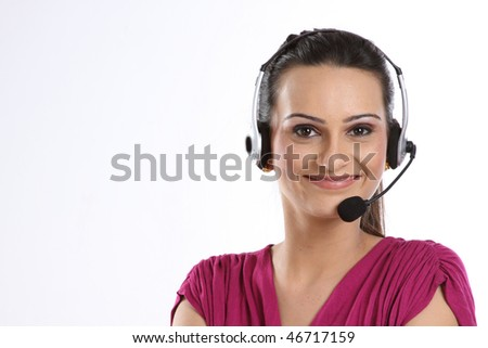 Indian woman with headphones - stock photo