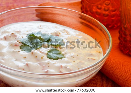 Indian yogurt dip with tomatoes and cilantro which is also called raita. - stock photo