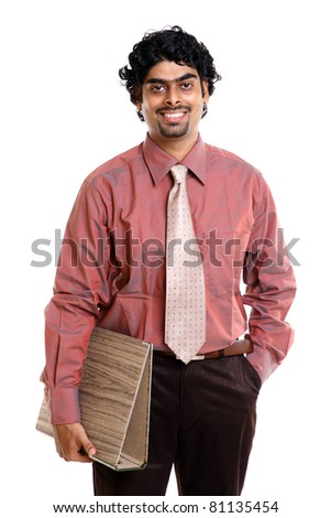 Indian young businessman with document on white - stock photo