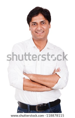 Indian young man standing. happy, confident, smiling. - stock photo