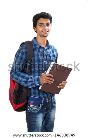 Indian young student carrying books on white. - stock photo