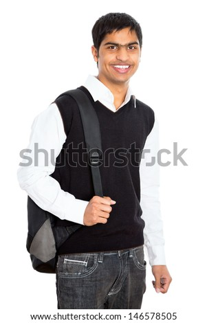 Indian young student carrying books on white