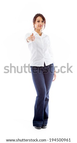 Indian young woman giving hand for handshake isolated on white background - stock photo