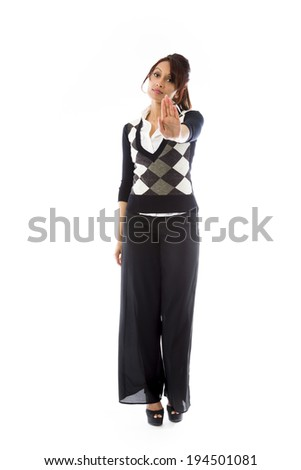 Indian young woman making stop gesture and showing stop - stock photo