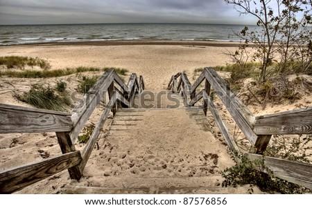 Indiana Dunes Lake Michigan Beach east Coast - stock photo