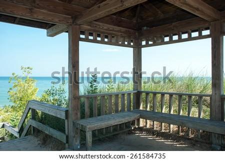 Indiana Dunes,  Views of Lake Michigan from the coastal shelter - stock photo