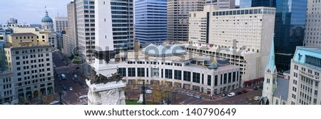 Indiana Soldiers and Sailors Monument in Indianapolis, Indiana - stock photo