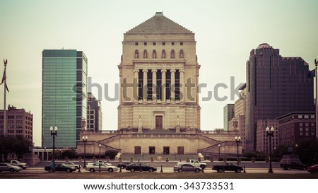 Indiana World War Memorial Plaza in Indianapolis, Indiana. - stock photo