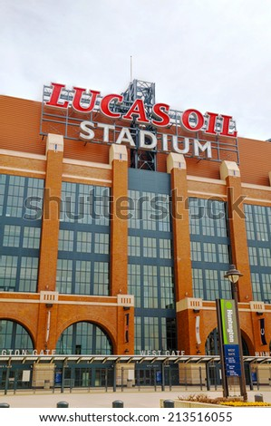 INDIANAPOLIS - APRIL 11: Lucas Oil Stadium on April 11, 2014 in Indianapolis, Indiana. It's a multi-purpose stadium in downtown Indianapolis officially opened to the public on August 16, 2008. - stock photo