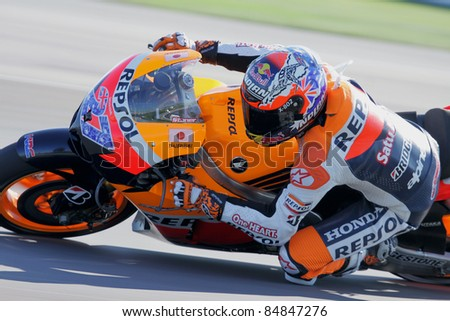 INDIANAPOLIS - AUGUST 28: Australian Honda rider Casey Stoner at 2011 Red Bull MotoGP of Indianapolis on August 28, 2011 - stock photo