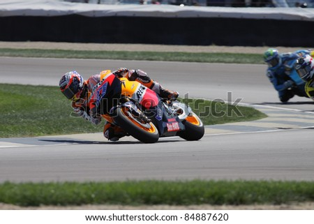 INDIANAPOLIS - AUGUST 26: Australian Honda, rider Casey Stoner at 2011 Red Bull MotoGP of Indianapolis on August 26, 2011 in Indianapolis, IN. - stock photo