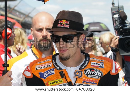 INDIANAPOLIS - AUGUST 28: Italian Honda rider Andrea Dovizioso on the grid at 2011 Red Bull MotoGP of Indianapolis on August 28, 2011