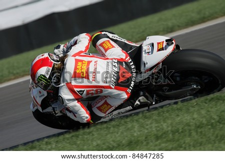 INDIANAPOLIS - AUGUST 28: Italian Honda rider Marco Simoncelli at 2011 Red Bull MotoGP of Indianapolis on August 28, 2011 - stock photo