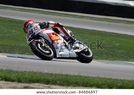 INDIANAPOLIS - AUGUST 26: Italian Honda rider Marco Simoncelli at 2011 Red Bull MotoGP of Indianapolis on August 26, 2011 in Indianapolis, IN. - stock photo