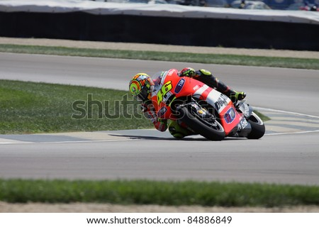 INDIANAPOLIS - AUGUST 26: Italian rider Valentino Rossi at 2011 Red Bull MotoGP of Indianapolis on August 26, 2011 in Indianapolis, IN. - stock photo