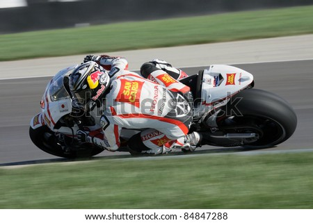 INDIANAPOLIS - AUGUST 28: Japanese Honda rider Hiroshi Aoyama at 2011 Red Bull MotoGP of Indianapolis on August 28, 2011 - stock photo