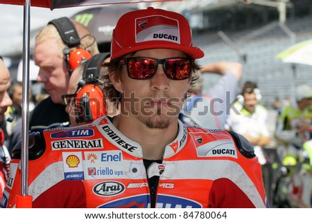 INDIANAPOLIS - AUGUST 28: US Ducati rider Nicky Hayden at 2011 Red Bull MotoGP of Indianapolis on August 28, 2011