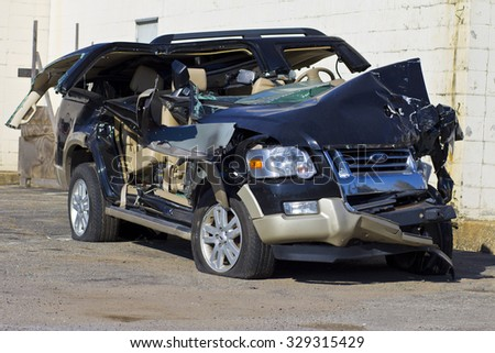INDIANAPOLIS - CIRCA OCTOBER 2015: Totaled SUV Automobile After Drunk Driving Accident II - stock photo