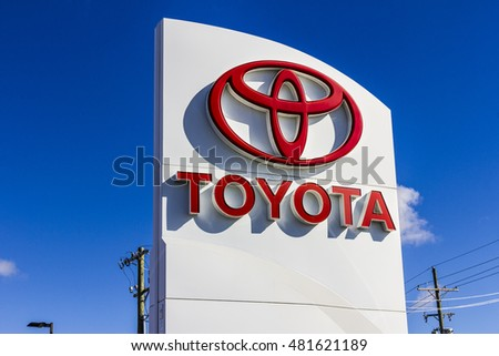 Indianapolis - Circa September 2016: Toyota Car and SUV Logo and Signage. Toyota is a Japanese Automaker Headquartered in Toyota, Aichi, Japan III