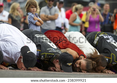 "Indianapolis, IN - Jul 27, 2014:  Jeff Gordon (24) wins the ""CROWN ROYAL PRESENTS, THE JOHN WAYNE WALDING 400 AT THE BRICKYARD"" at Indianapolis Motor Speedway in Indianapolis, IN.  - stock photo"