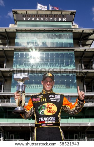 INDIANAPOLIS, IN - JULY 25:  Jamie McMurray wins the Brickyard 400 race at the Indianapolis Motor Speedway on July 25, 2010 in Indianapolis, IN. - stock photo