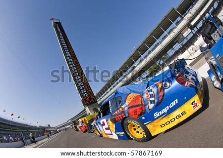 INDIANAPOLIS, IN - JULY 24:  The Miller Lite Dodge sits on pit road before qualifying for the Brickyard 400 race at the Indianapolis Motor Speedway on July 24, 2010 in Indianapolis, IN. - stock photo
