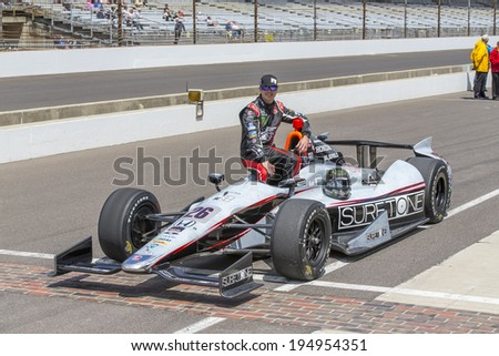 indianapolis, IN - May 17, 2014:  Kurt Busch (26) makes his qualifying run of 229.256 MPH for the Indianapolis 500 at Indianapolis Motor Speedway in indianapolis, IN.  - stock photo