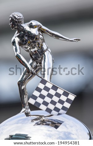 indianapolis, IN - May 17, 2014:  The Borg-Warner Trophy sits on pit road before qualifying starts for the Indianapolis 500 at Indianapolis Motor Speedway in indianapolis, IN.  - stock photo