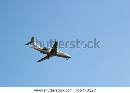 INDIANAPOLIS, IN - OCTOBER 10:  Small Jet Descending Indianapolis International Airport 2013