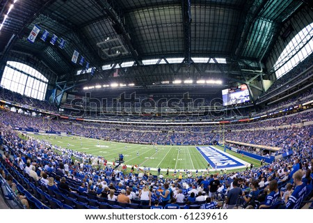 INDIANAPOLIS, IN - SEPT 2: Fisheye view of Lucas Oil Stadium during preseason football game between Indianapolis Colts and Cincinnati Bengals on September 2, 2010 in Indianapolis, IN