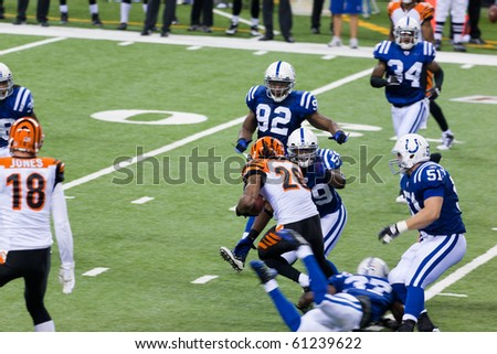 INDIANAPOLIS, IN - SEPT 2: Intercept during football game between Indianapolis Colts and Cincinnati Bengals on September 2, 2010 in Indianapolis, IN - stock photo