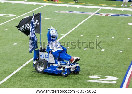 INDIANAPOLIS, IN - SEPT 2: The Indianapolis Colt's mascot Blue drives onto the field on September 2, 2010 in Indianapolis, Indiana. - stock photo