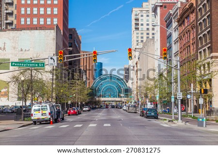 INDIANAPOLIS, INDIANA, April 14 : Downtown Indianapolis on April 14, 2015. Indianapolis was founded in 1821 as a planned city for the new seat of Indiana's state government