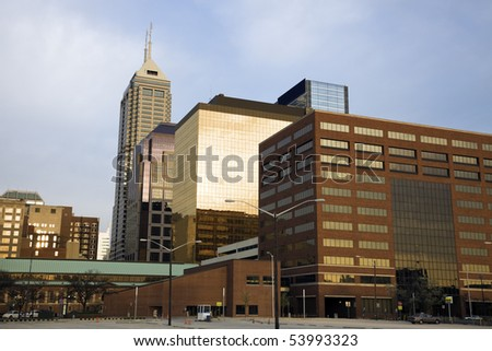 Indianapolis, Indiana in the morning. - stock photo