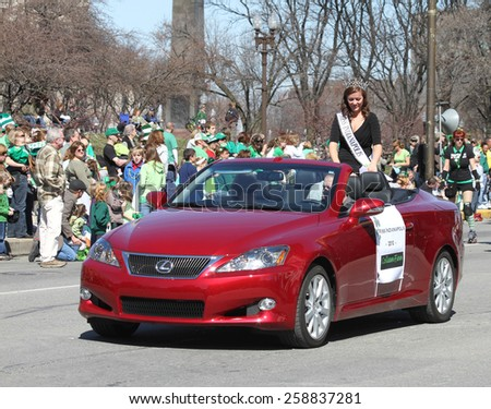 INDIANAPOLIS,INDIANA-MARCH 17:Miss Indianapolis Colleen Finn greeting people at the Annual St Patrick's Day Parade.March 17,2010 in Indianapolis,Indiana,USA.