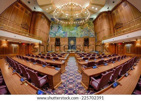 INDIANAPOLIS, INDIANA - OCTOBER 23: Fisheye perspective of the House of Representatives Chamber of the Indiana State Capitol building on October 23, 2014 in Indianapolis, Indiana - stock photo