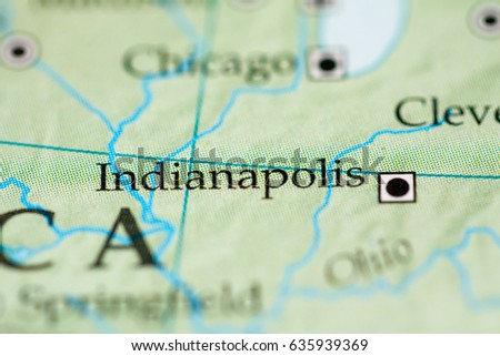 Closeup Indianapolis Indiana On Political Map Stock Photo - Indianapolis indiana usa map
