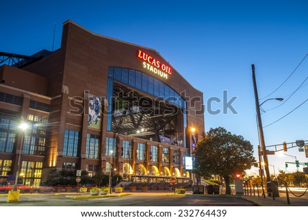 Indianapolis, Indiana, USA - July 13, 2014: Lucas Oil Stadium is a home to Indianapolis Colts. The stadium has capacity of 63000 people