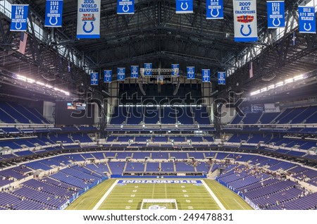 Indianapolis, Indiana, USA - July 14, 2014: Lucas Oil Stadium is a home to Indianapolis Colts. The stadium has capacity of 63000 people. - stock photo