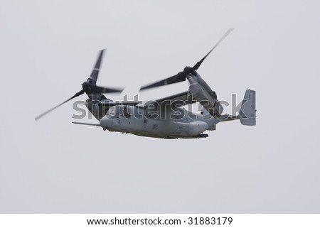 INDIANAPOLIS - JUNE 7: A V-22 Osprey  fly's through the sky at the Indy air show at Mt. Comfort airport on June 7th, 2009 in Indianapolis,Indiana