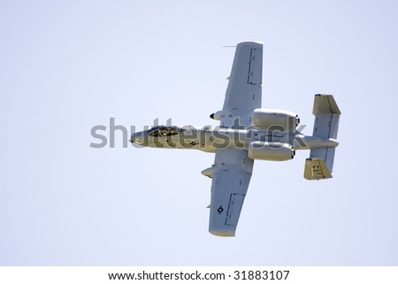 INDIANAPOLIS - JUNE 7: An A-10 Warthog fly's through the sky at the Indy air show at Mt. Comfort airport on June 7th, 2009 in Indianapolis,Indiana - stock photo