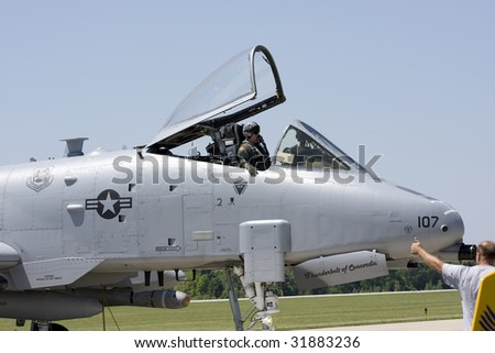 INDIANAPOLIS - JUNE 5: AN A-10 Warthog sits on the runway at the Indy air show at Mt. Comfort airport on June 5th, 2009 in Indianapolis,Indiana - stock photo
